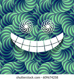 Blue and Green Trippy Abstract Psychdelic 3D Effect Fractal Seamless Texture Pattern with Smiling Face Vector Illustration