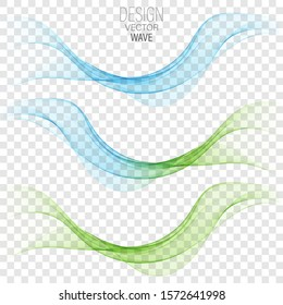 Blue and green vector wave. Set of abstract waves border.