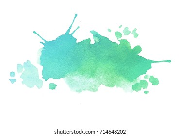 blue green watercolor splash vector painted water color background