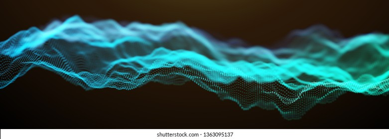 Blue and Green Wavy Particle Surface on Black Background. Abstract Technology or Science Banner. Cyber Space Background. Particles with DOF Effect. EPS10 Vector Illustration.