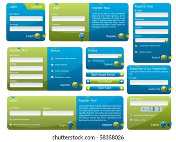 Blue and green web form template