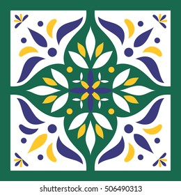Blue, green and white tile vector. Italian majolica or portuguese tiles pattern with flower ornaments.