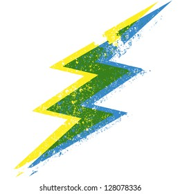 a blue, green and yellow grunge lightning bolt