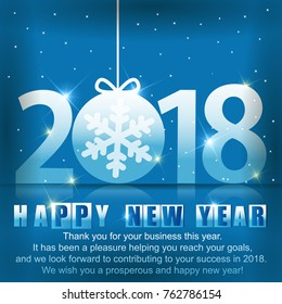 Blue Greeting card with a New Year 2018. Beautiful numbers with snowflake inside of ball.
