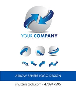Blue grey arrrow sphere 3d logo icon vector company element template business corporate