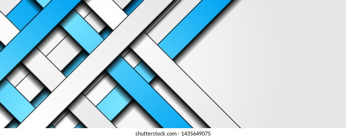 Blue and grey contrast stripes abstract tech background. Vector illustration