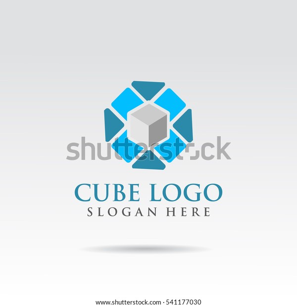 Blue Grey Cube Logo Template Design Stock Vector (Royalty