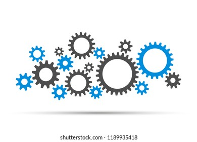 Blue and grey gears and cog wheel on a white background