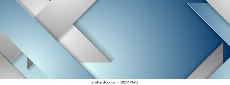 Blue and grey geometric corporate banner design. Vector background