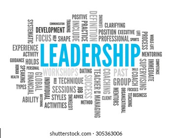 Blue and grey leadership word-cloud on white background