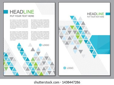 Blue and grey triangle cover page template