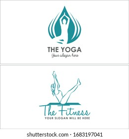 blue grey wellness yoga exercise  pose balance balancing lotus flower health healthy logo design idea modern relax relaxation sport body physical therapy meditation relax fitness suitable for woman