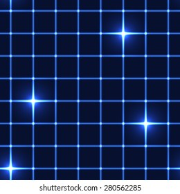 blue grid or net with shining stars (seamless background)