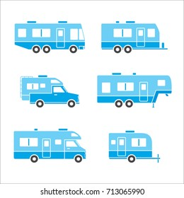 Blue group of auto RVs, Camper cars / Camping vans, Truck Trailers, recreational vehicles vector flat design icons, retro clipart isolated on white background