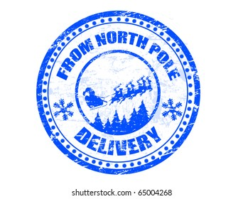 Blue grunge rubber stamp with flying Santa silhouette and the text from North Pole delivery written inside the stamp - more available