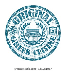 Blue grunge rubber stamp with Greek elements and the text Original Greek cuisine written on the stamp