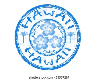 Blue grunge rubber stamp with the name of Hawaii islands written inside