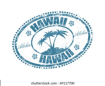 Blue grunge rubber stamp with the palms shape and the name of Hawaii islands written inside the stamp