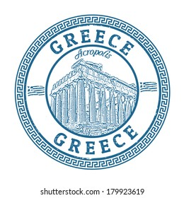 Blue grunge rubber stamp with the Parthenon shape from Greece and the name Greece written inside, vector illustration