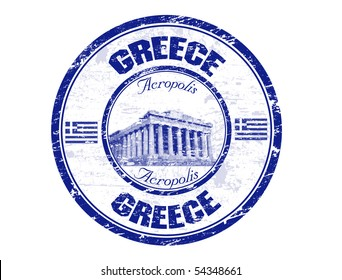 Blue grunge rubber stamp with the Parthenon shape from Greece and the name Greece written inside the stamp