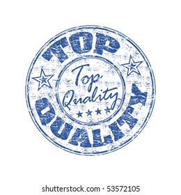Blue grunge rubber stamp with the text top quality written inside the stamp
