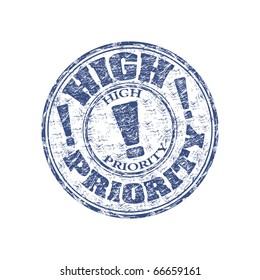 Blue grunge rubber stamp with the text high priority written inside the stamp