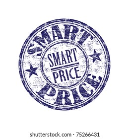 Blue grunge rubber stamp with the text smart price written inside the stamp