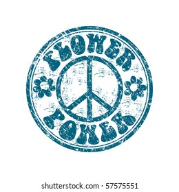 Blue grunge rubber stamp with two flower shapes, the hippie sign and the text flower power written inside the stamp