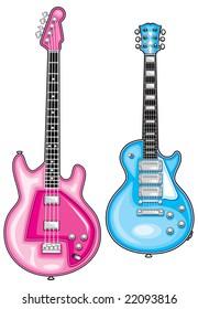 blue guitar - pink bass