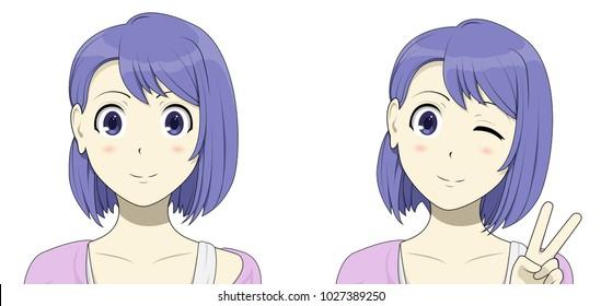 "Blue hair anime girl showing ""peace"""