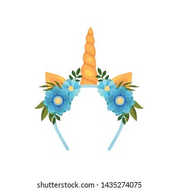 Blue hair band with a golden unicorn horn and ears. Vector illustration on white background.