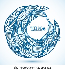Blue hair waves doodle vector circle frame
