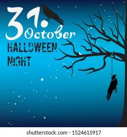 Blue Halloween poster. 31. october. night
