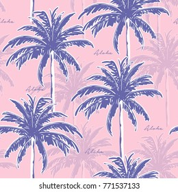Blue Hand drawing  palm trees on the pink background. Vector seamless pattern. Tropical illustration. Jungle foliage.