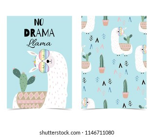 Blue hand drawn cute card with llama, glasses and cactus.Llama not drama