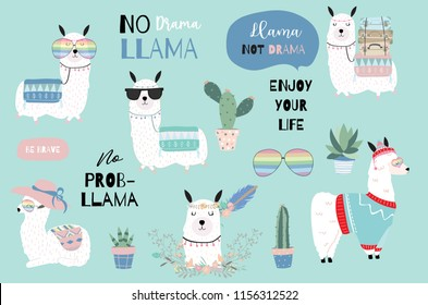 Blue hand drawn cute card with llama, heart glasses and hat in winter christmas.include wording No drama llama,Enjoy your life,no problem llama