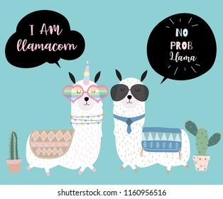 Blue hand drawn cute card with llama, glasses and cactus.No prob llama