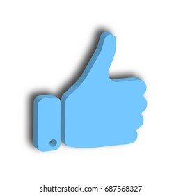 Blue hand with thumb up. Gesture of like, agree, yes, approval or encouragement. 3D vector illustration with dropped shadow.