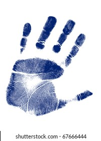 Blue hand-print shape over white background.