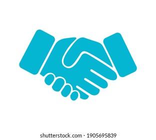 Blue Handshake (Agreement) Icon, Vector Design