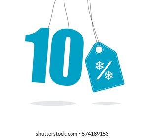 Blue hanging 10% text with a snowflake percent design tag and with shadow isolated on white background. For winter sale campaigns.