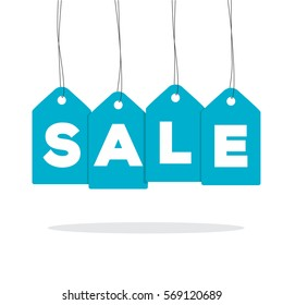 Blue hanging price tag labels with sale word on it and with shadow isolated on white background. For winter sale campaigns.