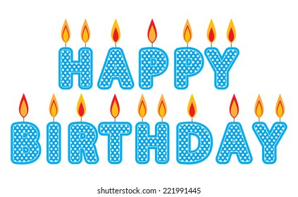Blue Happy Birthday Candles Clip Art Set Cake Graphics Created Using Vector Software