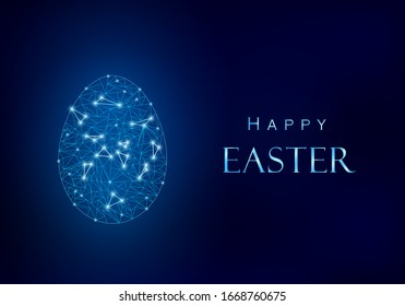 Blue Happy Easter design. Egg from polygonal mesh with light points. Next to it shiny metallic effect greeting text.