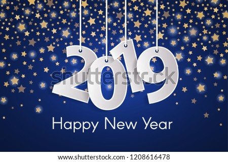blue happy new year 2019 greeting card concept with paper cuted white numbers on golden star