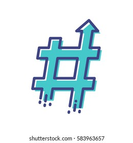 Blue hashtag symbol of trending topic with arrow up. Concept of number sign, social media and web communicate. Filled flat line style illustration.