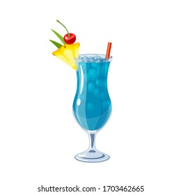 Blue Hawaii alcoholic cocktail, vector illustration cartoon icon isolated on white.