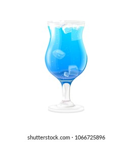 Blue hawaiian alcoholic cocktail with ice cubes. Vector illustration