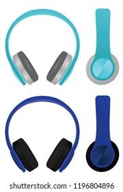 Blue headphones. vector illustration