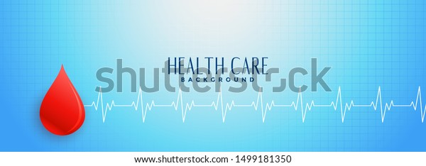 Blue Healthcare Banner Red Blood Drop Stock Image Download Now